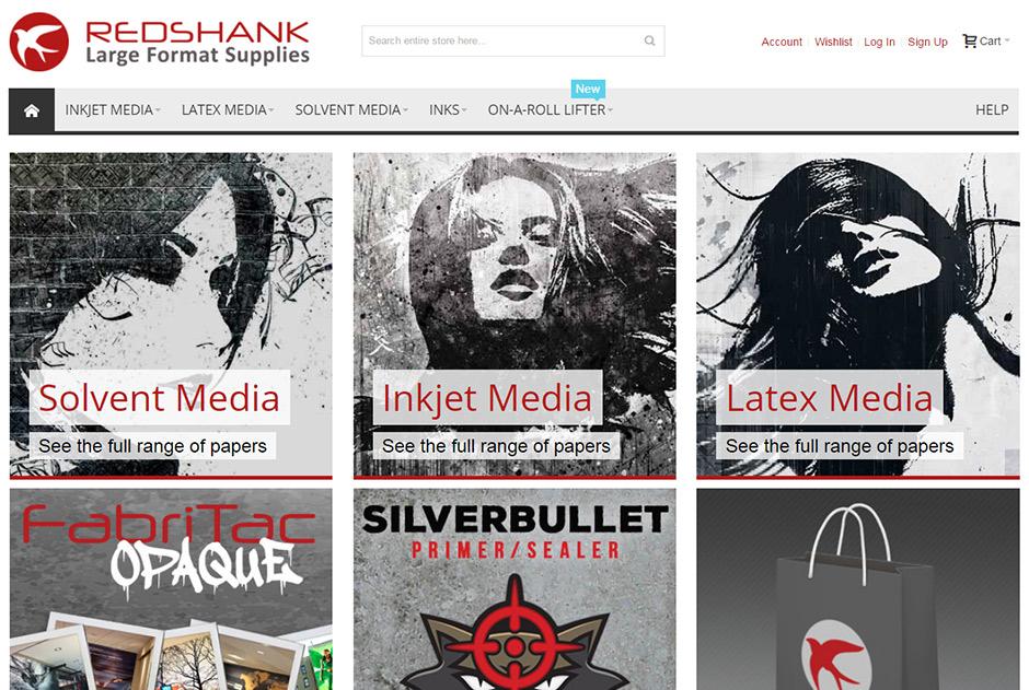 screenshot of Redshank Large Format Supplies website